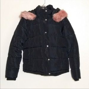 Forever 21 pink fur lined puffer coat